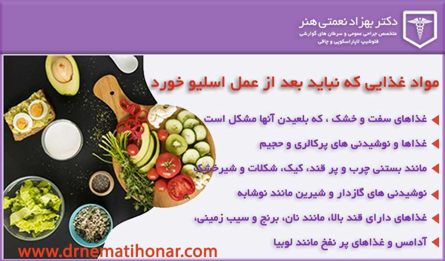 منع غذایی پس از عمل اسلیو معده